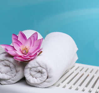 Spa towels and flower