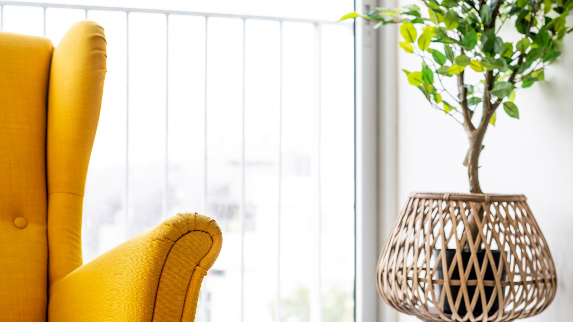 כורסא צהובה בסלון