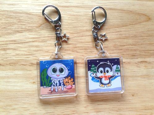 Sea animal keychains (Jellyfish, Penguin)