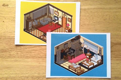 Isometric Pixel Room Print