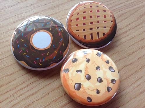 Food button pin set - Donut pin, apple pie pin, cookie pin