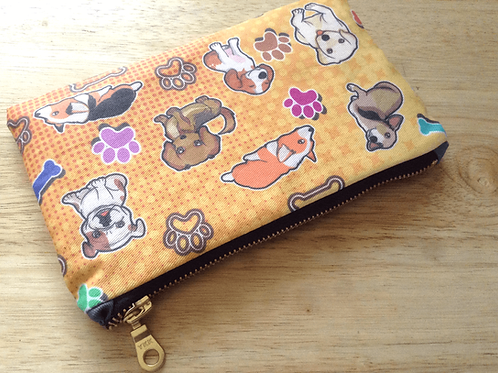 Dog zipper pouch (metallic zipper)