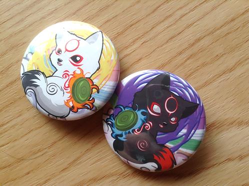 Okamiden button pins
