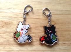 Chibiterasu and Dark Chibiterasu acrylic keychain