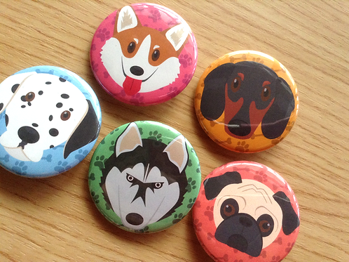 Cute dog button pins