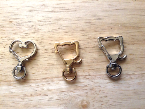 Heart shaped keychains, Cat shaped clasp