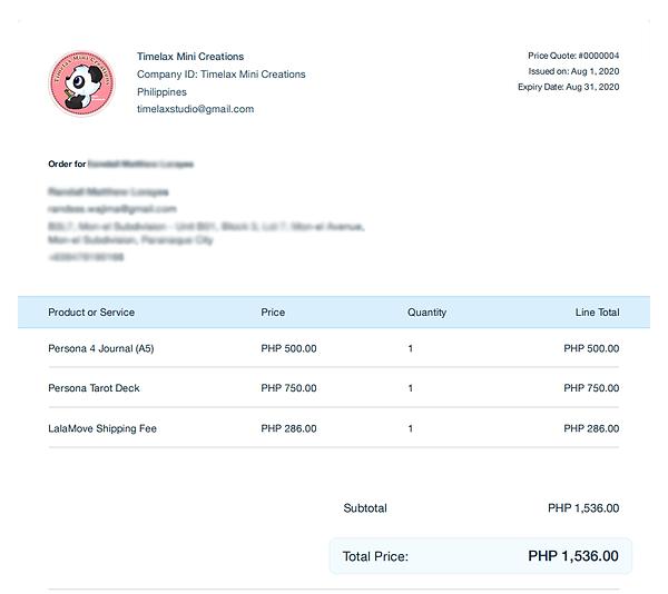 Sample Order Invoice