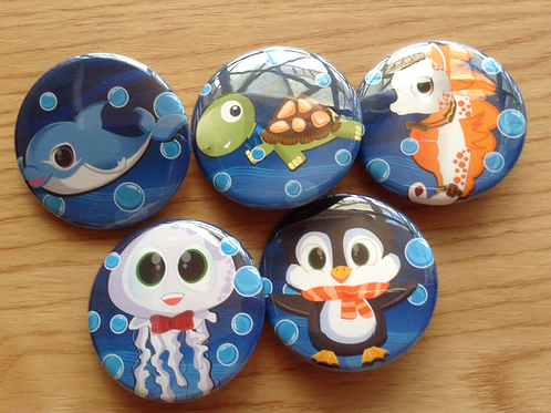 Cute Sea creatures button pin