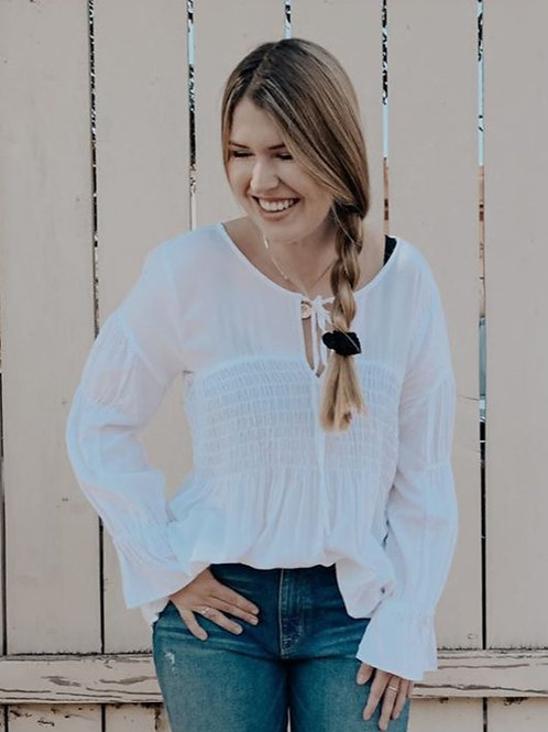 Smocked Prairie Blouse in White