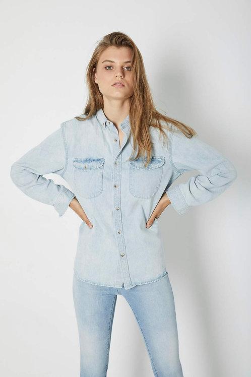 Slouch Denim Shirt in Bleach Blue