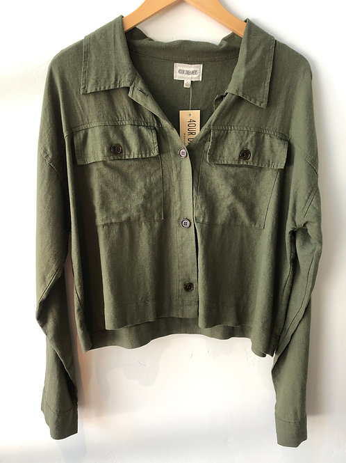 Crop Jacket in Army Green