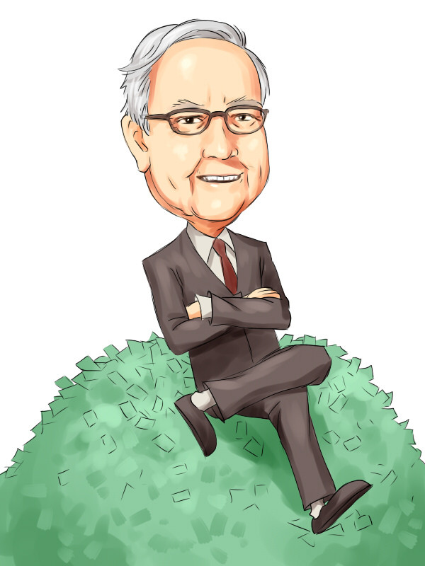 Warren buffet sitting on a pile of cash being happy