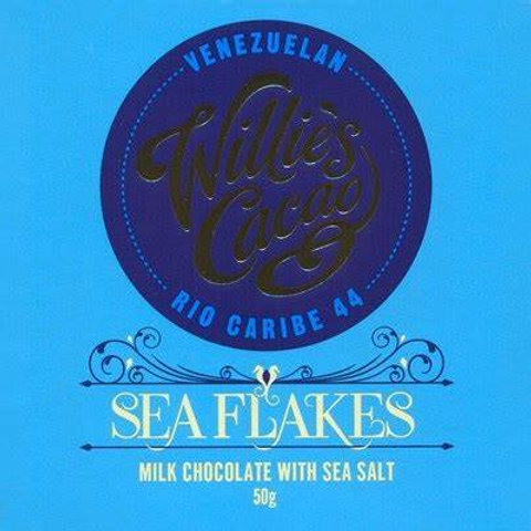 Willie's Cacao Sea Flakes 44% Milk Chocolate Bar 50g