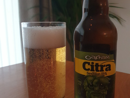 """Blog #76. Oakham Ales - Citra. What's the saying: """"Don't judge a beer by its label""""?"""