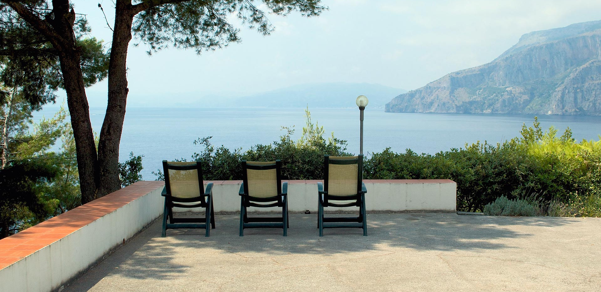 The terrace, overlooking the sea