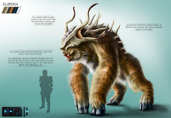 Elorden Creature Concept Sheet - Photoshop Painting