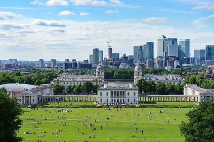 Panoramic view of Canary wharf viewed fr