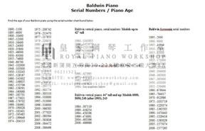 鋼琴出產年份及序號 3) Baldwin Pianos Serial No.