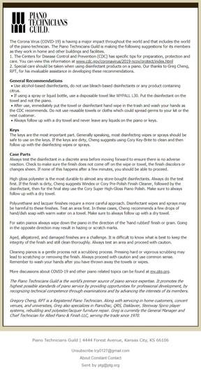 美國鋼琴技師公會的防疫建議