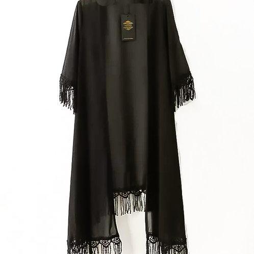 Black Night Tassel Kimono
