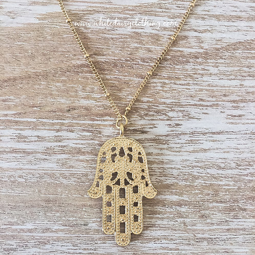 Gold Hand Of Fatima Necklace