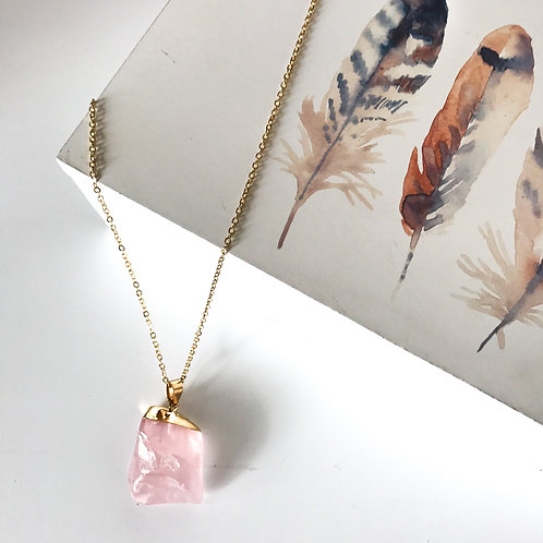 Rose Pink Crystal Necklace