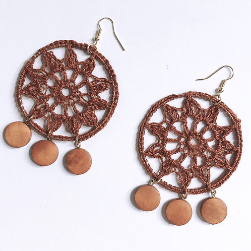 Brown Hoop Knit Earrings