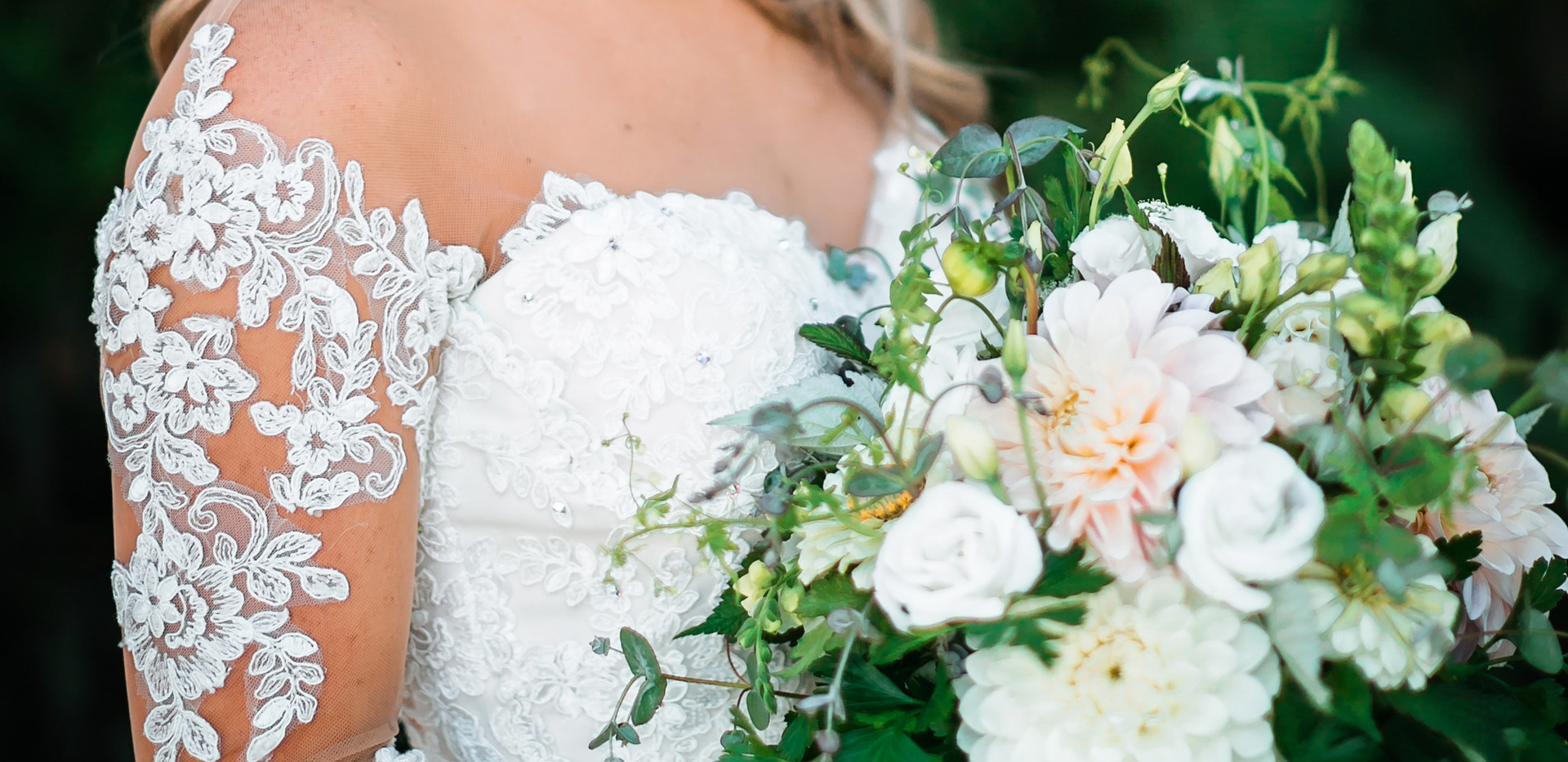 Classic Bridal Bouquet and Flower Crown. Charles and Terri's Wedding, August 2018 Photo Credit: Tallie Johnson Photography