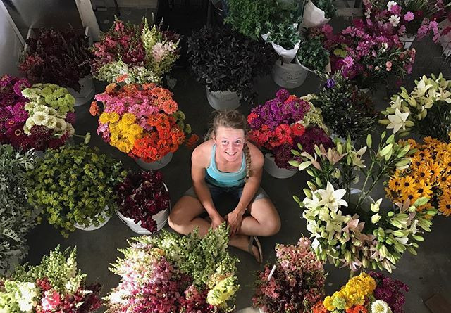 Me After Harvesting All of My Flowers and Getting Ready to Make Farmers Market Bouquets