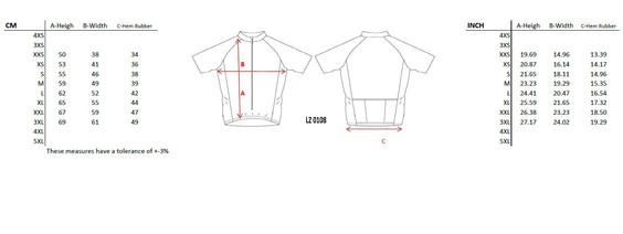 Size Chart Classic Jersey Cycling