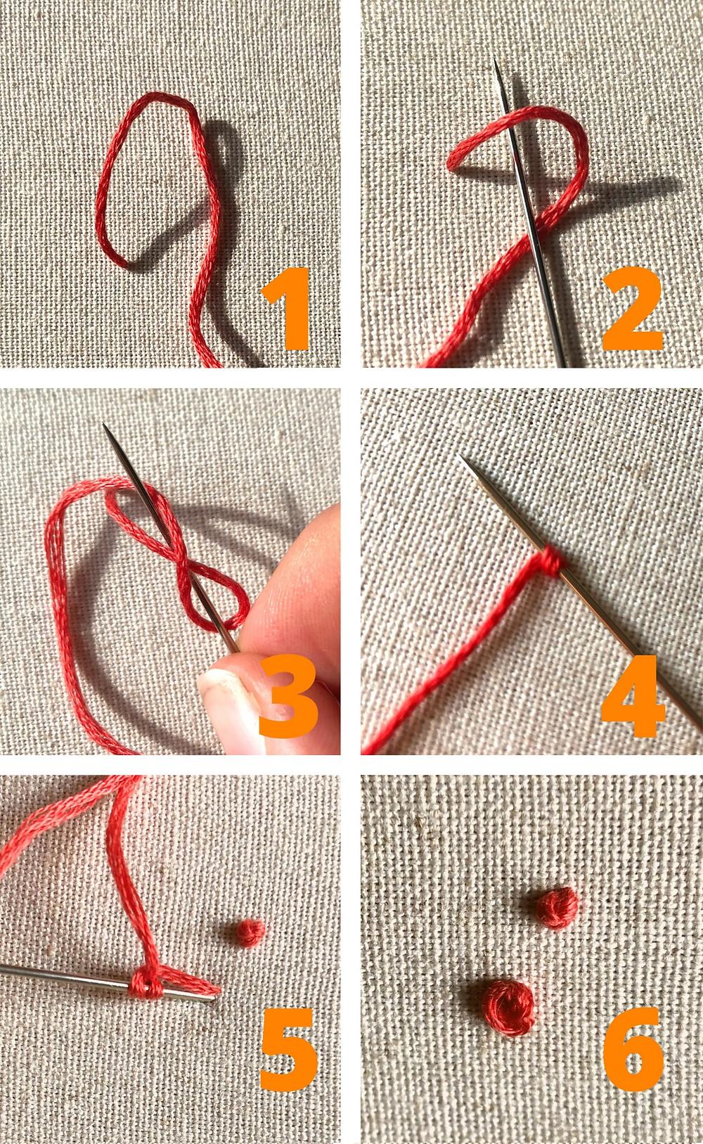 Borduursteek french knot uitgelegd