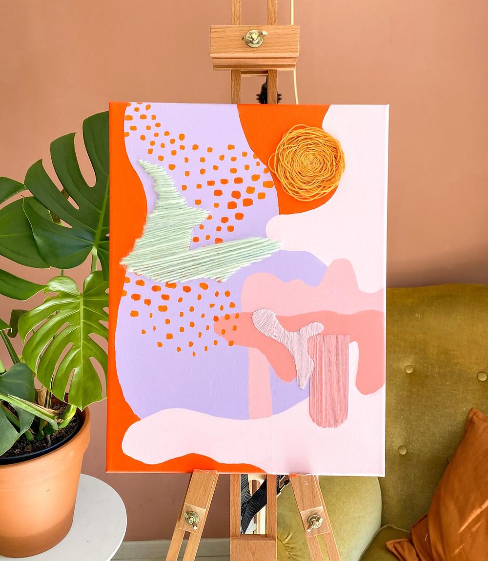 borduren op een schilderij