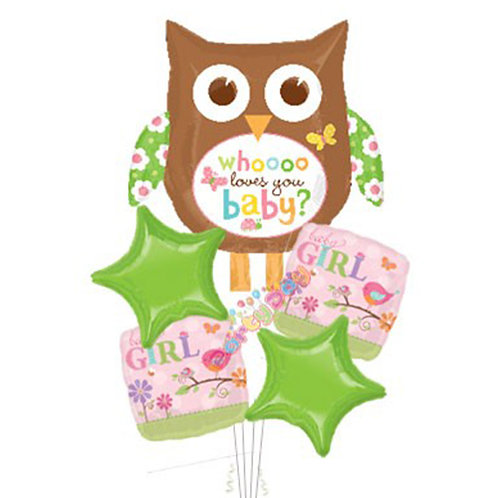 Cute Owl Baby Girl Helium Balloon Bouquet - bq25