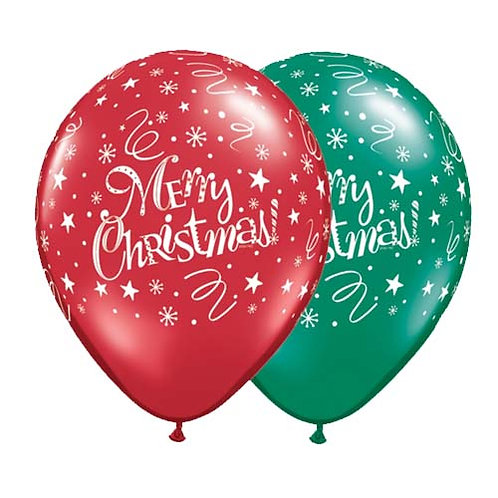 "11"" Christmas Pattern Latex Balloon - Red and Green"
