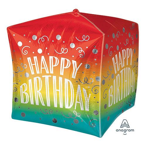 "15"" Happy Birthday Gradient Swirls UltraShape Helium Balloon - hb83"