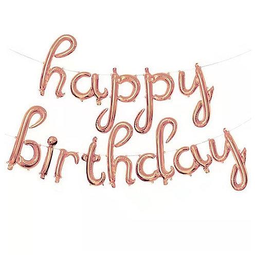 "14"" Rose Gold Cursive HAPPY BIRTHDAY Letters Balloon - 14RGCHBD"