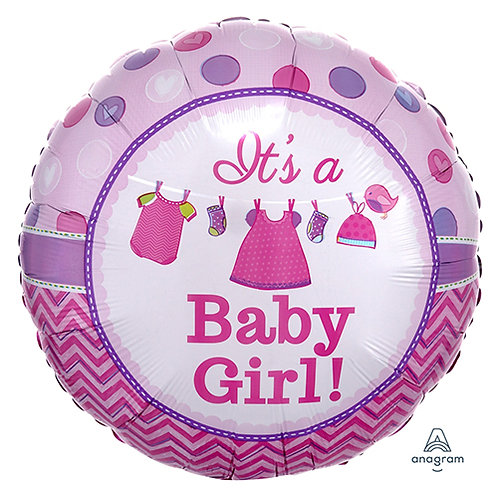 """18"""" Baby Girl Baby Clothes Helium Balloon - bb46"""