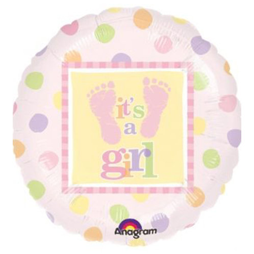 "18"" Baby Girl Footprint Dot Pattern Helium Balloon - bb20"