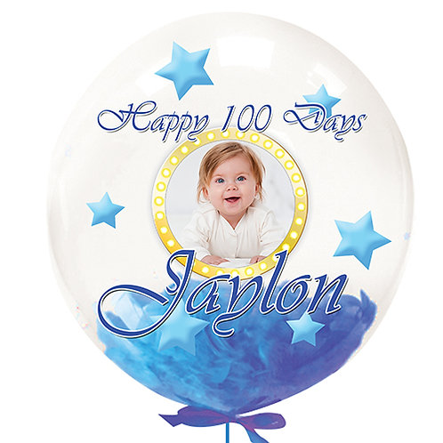 """22"""" Personalise Color Print Photo Crystal Clear Balloon - Blue Feather Filled"""
