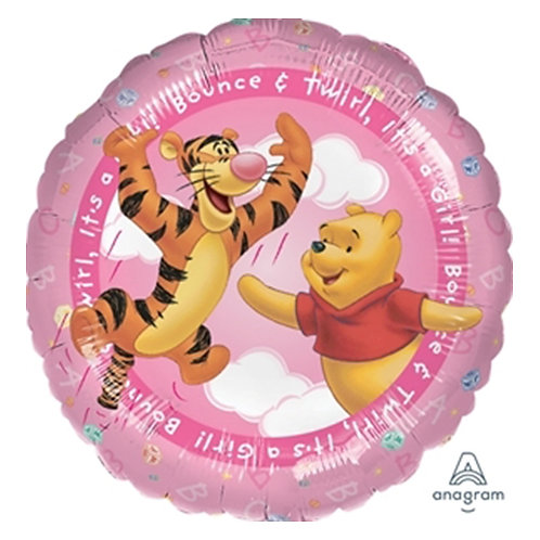 """18"""" Winnie the Pooh & Tigger Jumping on Pink Sky Helium Balloon - w20"""