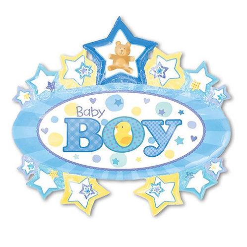 "30"" Baby Boy Stars And Bear Helium Balloon - bb41"