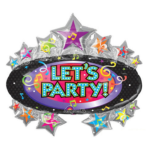 "30"" Twinkling Stars Let's Party Badge Helium Balloon - hb14"