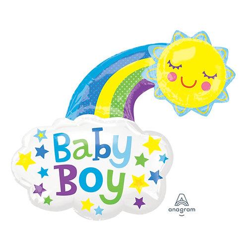 "30"" Baby Boy Sunshine & Rainbow Helium Balloon - bb66"