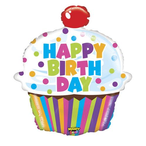 "24"" Dots Pattern Rainbow Stripes Cupcake HBD Helium Balloon - hb52"