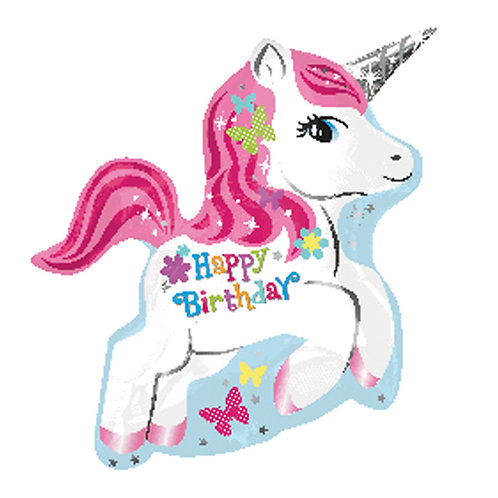 "18"" Unicorn HBD Full Body Helium Balloon - z03"