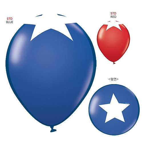 """11""""Star at Top Pattern Latex Balloon - Blue and Red"""