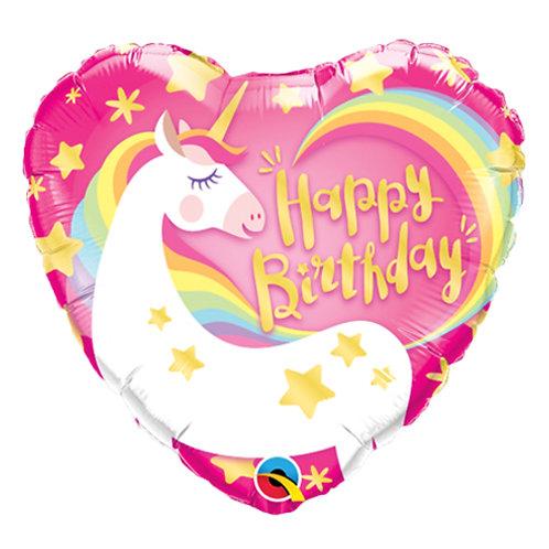 "18"" Heart Shape Rainbow Unicorn HBD Helium Balloon - z55"