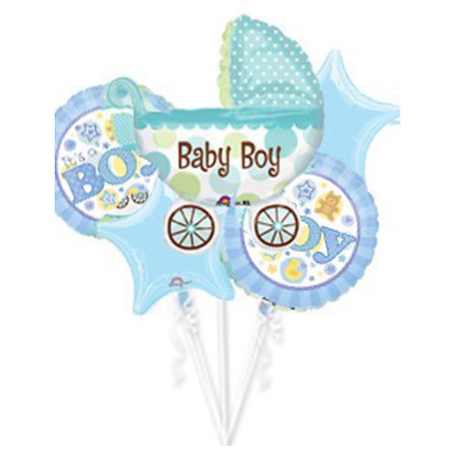 Baby Boy Theme with Baby Cart Helium Balloon Bouquet - bq07