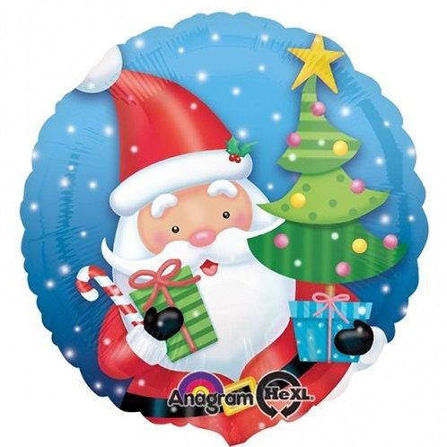 "18"" Santa Claus & Christmas Tree Snowing Helium Balloon - x05"