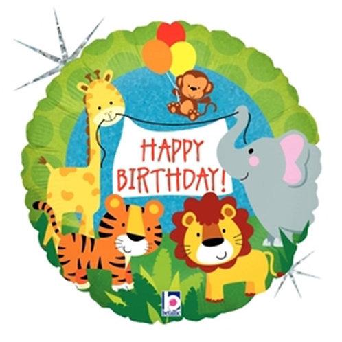 "18"" HBD Animals Helium Balloons - z54"